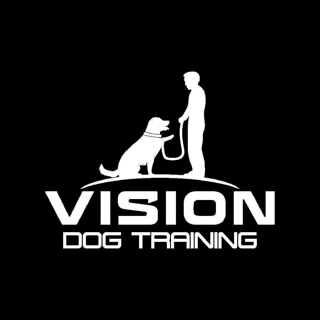 vision dog training white logo